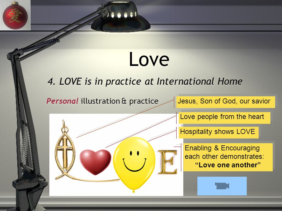 4. LOVE is in practice at International Home Love Jesus, Son of God, our savior Love people from the heart Hospitality shows LOVE Enabling & Encouragi