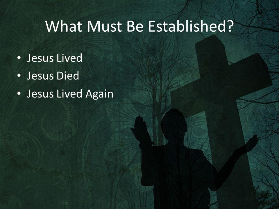 What Must Be Established Jesus Lived Jesus Died Jesus Lived Again