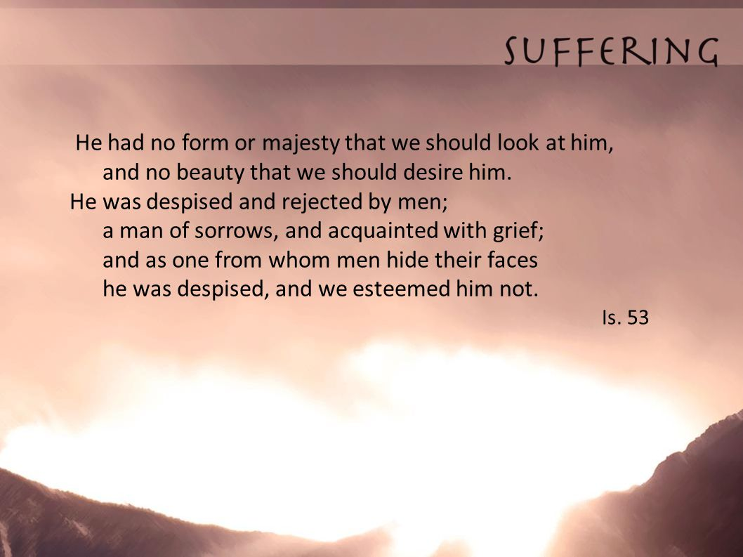 He had no form or majesty that we should look at him, and no beauty that we should desire him. He was despised and rejected by men; a man of sorrows,