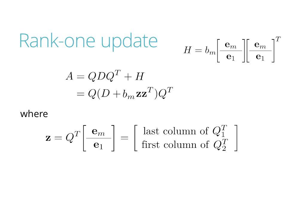 Rank-one update where