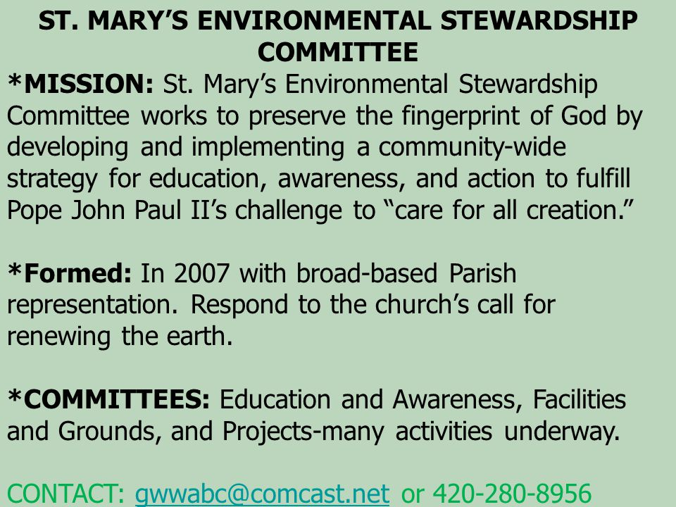 ST. MARY'S ENVIRONMENTAL STEWARDSHIP COMMITTEE *MISSION: St.