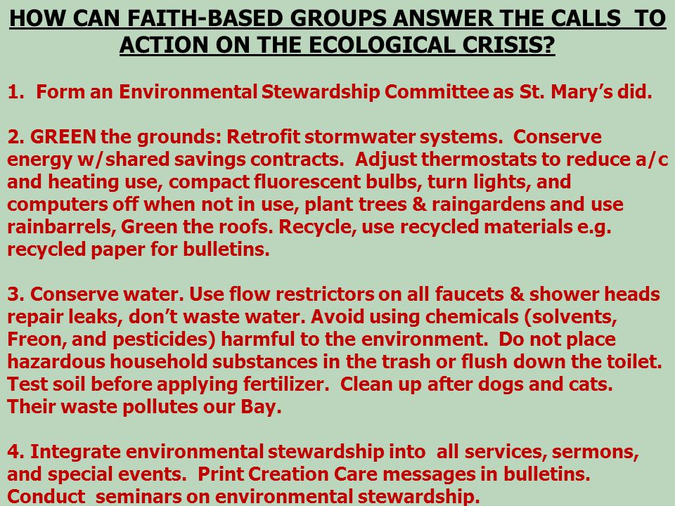 HOW CAN FAITH-BASED GROUPS ANSWER THE CALLS TO ACTION ON THE ECOLOGICAL CRISIS.