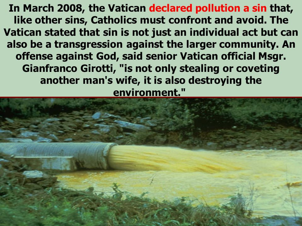 In March 2008, the Vatican declared pollution a sin that, like other sins, Catholics must confront and avoid.