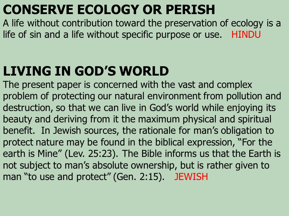 CONSERVE ECOLOGY OR PERISH A life without contribution toward the preservation of ecology is a life of sin and a life without specific purpose or use.