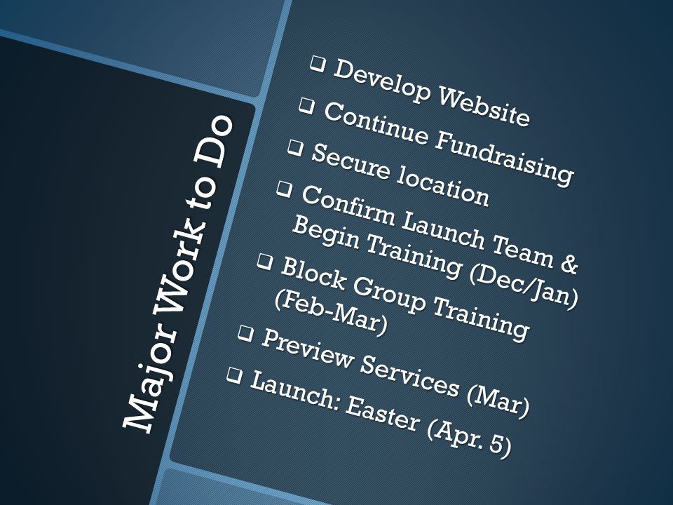 Major Work to Do  Develop Website  Continue Fundraising  Secure location  Confirm Launch Team & Begin Training (Dec/Jan)  Block Group Training (Feb-Mar)  Preview Services (Mar)  Launch: Easter (Apr.