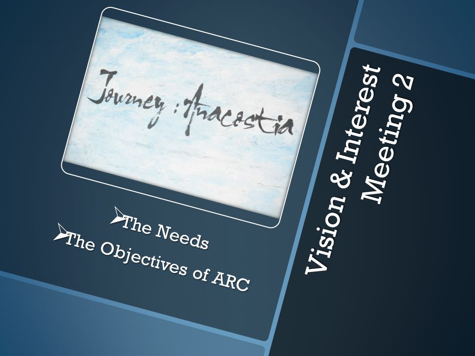 Vision & Interest Meeting 2  The Needs  The Objectives of ARC