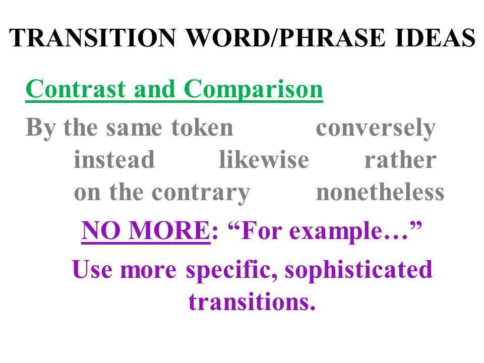 TRANSITION WORD/PHRASE IDEAS Contrast and Comparison By the same tokenconversely insteadlikewise rather on the contrary nonetheless NO MORE: For example… Use more specific, sophisticated transitions.