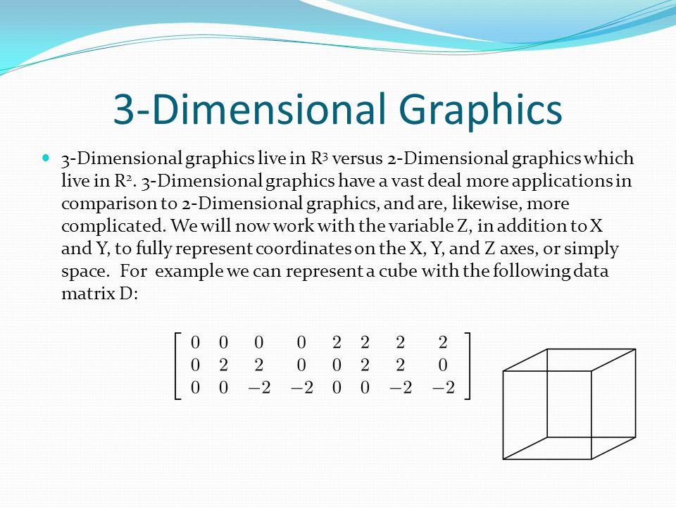 3-Dimensional Graphics 3-Dimensional graphics live in R 3 versus 2-Dimensional graphics which live in R 2.