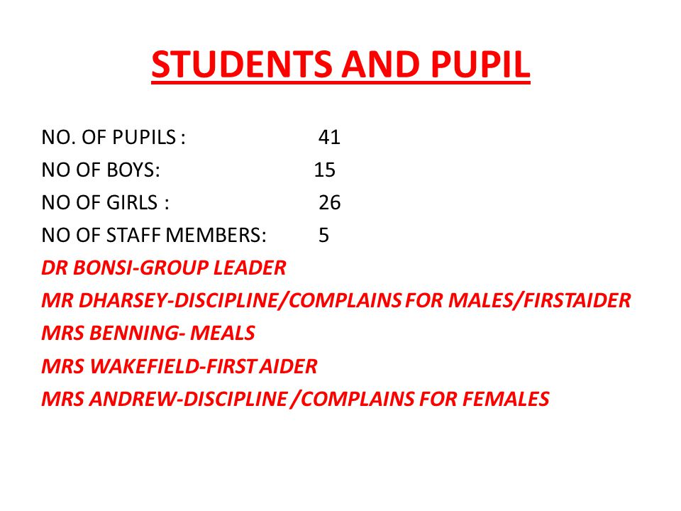 STUDENTS AND PUPIL NO.