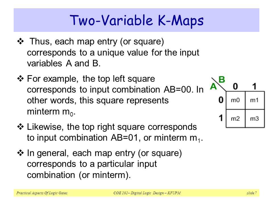 Practical Aspects Of Logic Gates COE 202– Digital Logic Design – KFUPM slide 8 Two-Variable K-Maps  Two K-map squares are considered adjacent if the input codes they represent have a Hamming distance of 1.