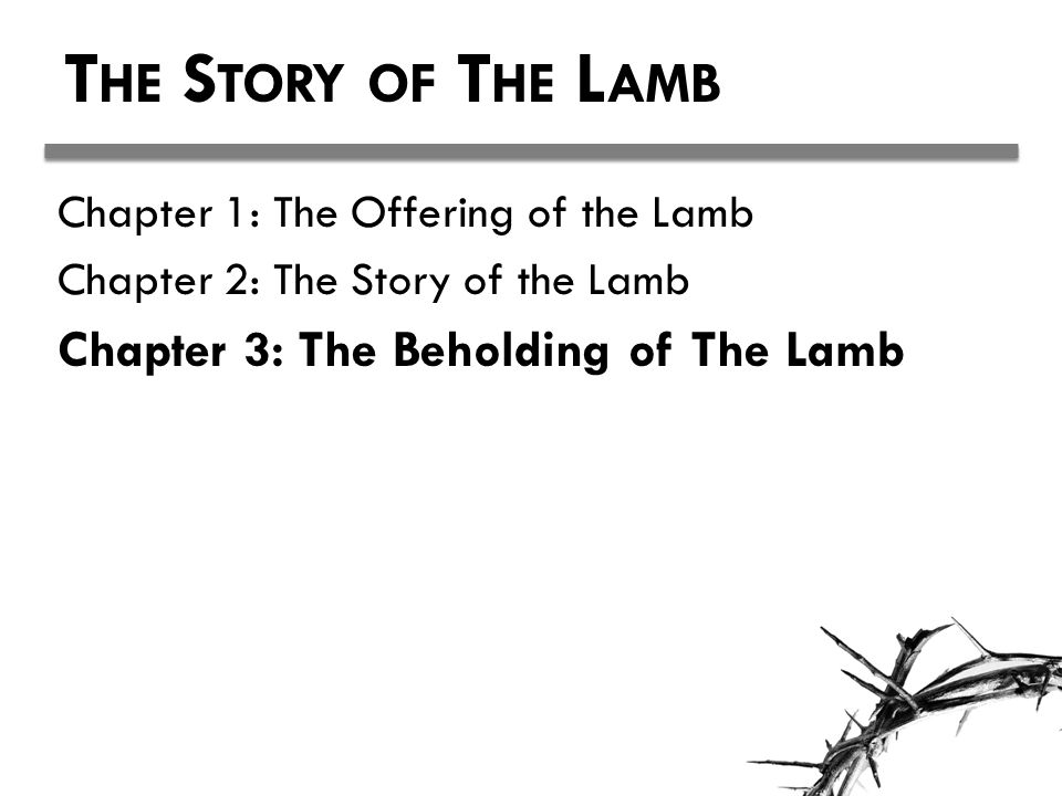 T HE S TORY OF T HE L AMB Chapter 1: The Offering of the Lamb Chapter 2: The Story of the Lamb Chapter 3: The Beholding of The Lamb