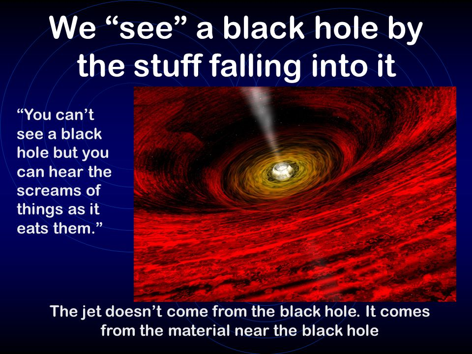 """We """"see"""" a black hole by the stuff falling into it """"You can't see a black hole but you can hear the screams of things as it eats them."""" The jet doesn'"""
