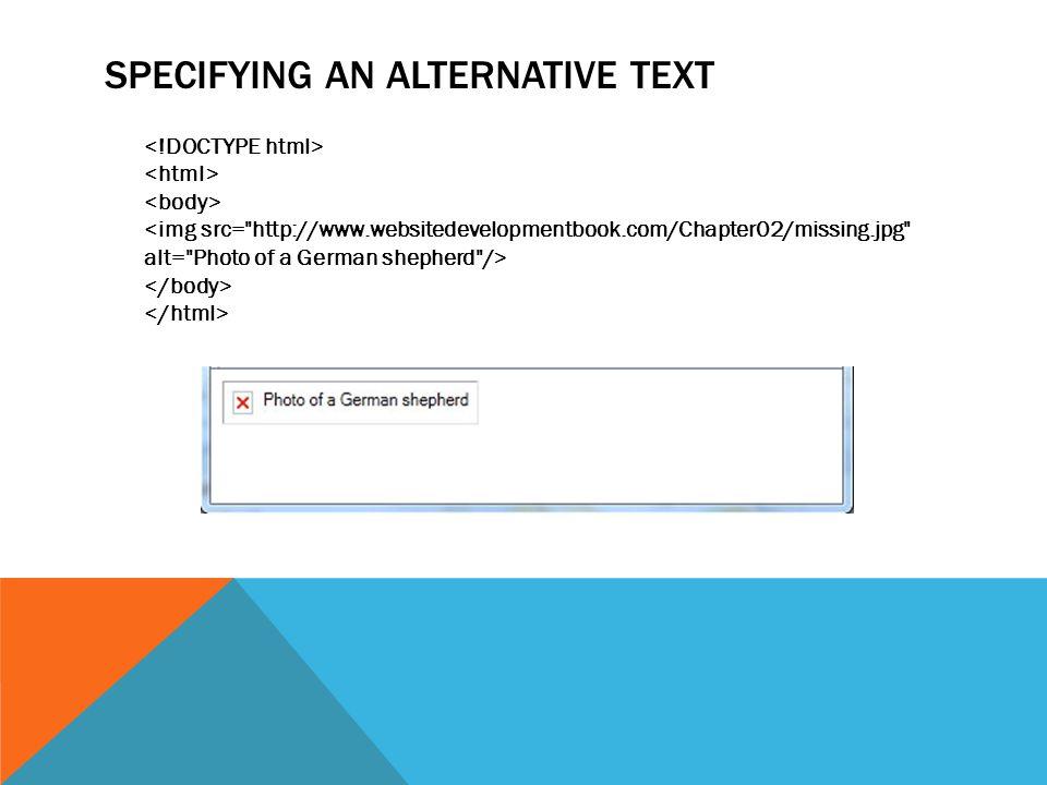 SPECIFYING AN ALTERNATIVE TEXT