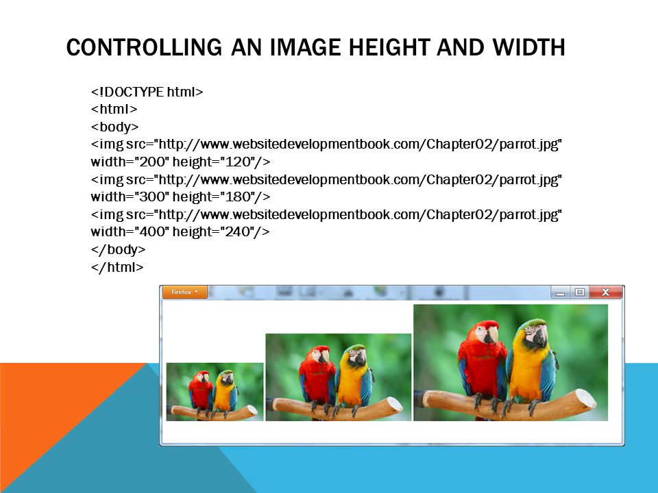 CONTROLLING AN IMAGE HEIGHT AND WIDTH