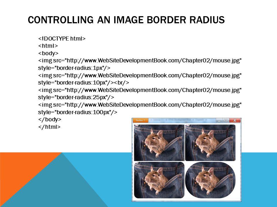 CONTROLLING AN IMAGE BORDER RADIUS