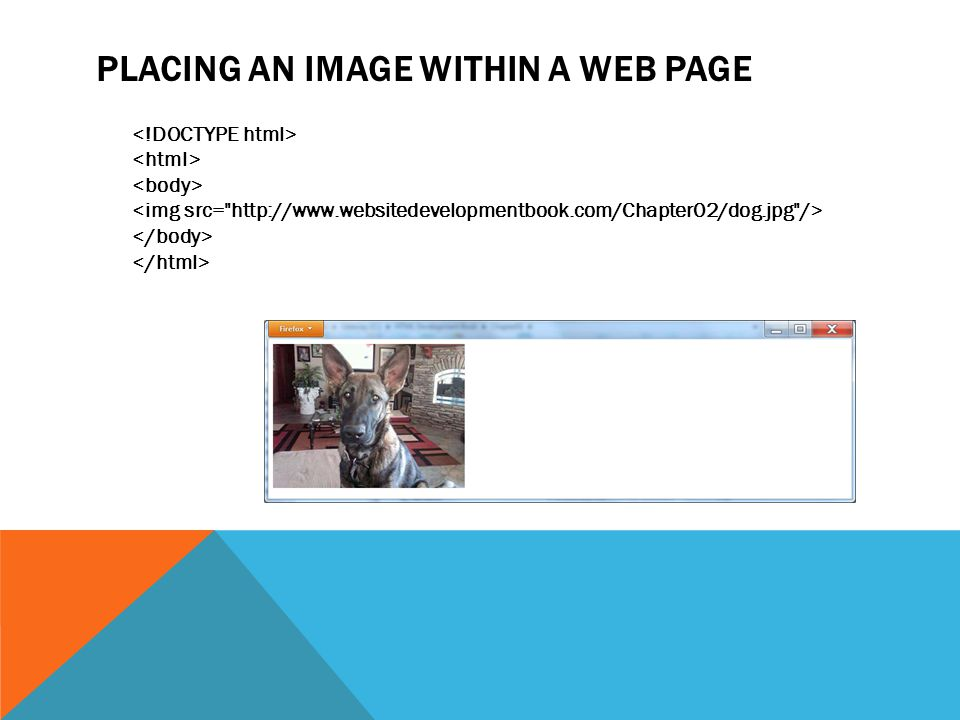 PLACING AN IMAGE WITHIN A WEB PAGE