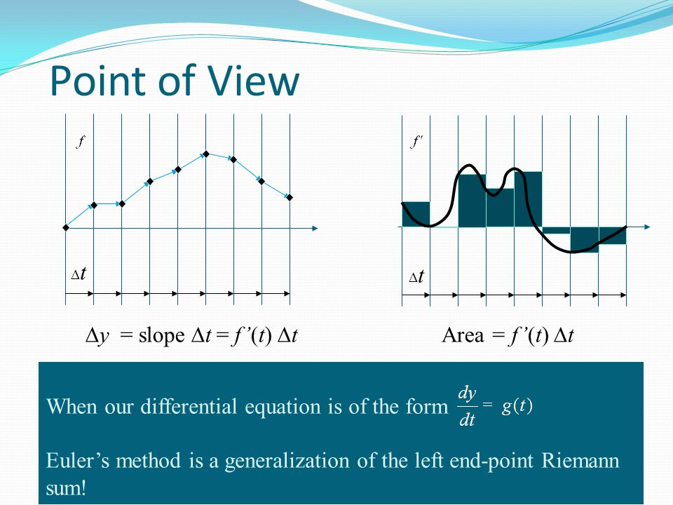 Point of View tt tt When our differential equation is of the form Euler's method is a generalization of the left end-point Riemann sum.