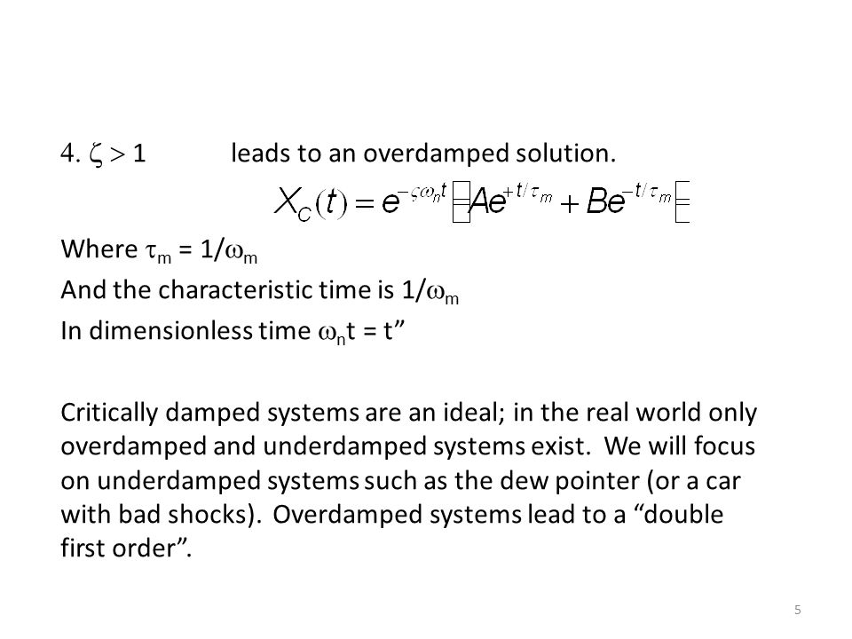 Time Response of second order systems.