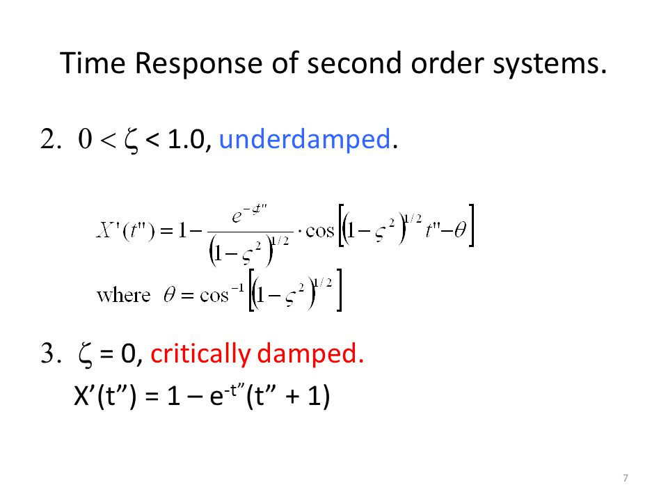 Time Response of second order systems. > 1.0, overdamped.