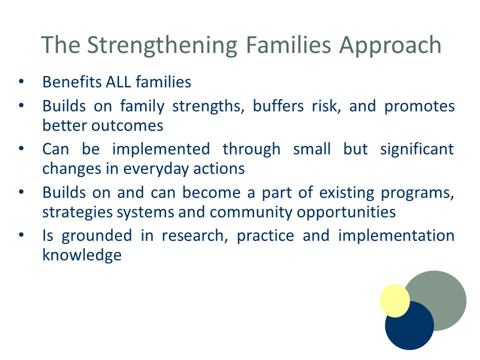 The Strengthening Families Approach Benefits ALL families Builds on family strengths, buffers risk, and promotes better outcomes Can be implemented through small but significant changes in everyday actions Builds on and can become a part of existing programs, strategies systems and community opportunities Is grounded in research, practice and implementation knowledge