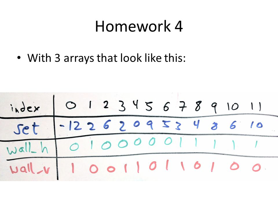 Homework 4 With 3 arrays that look like this: