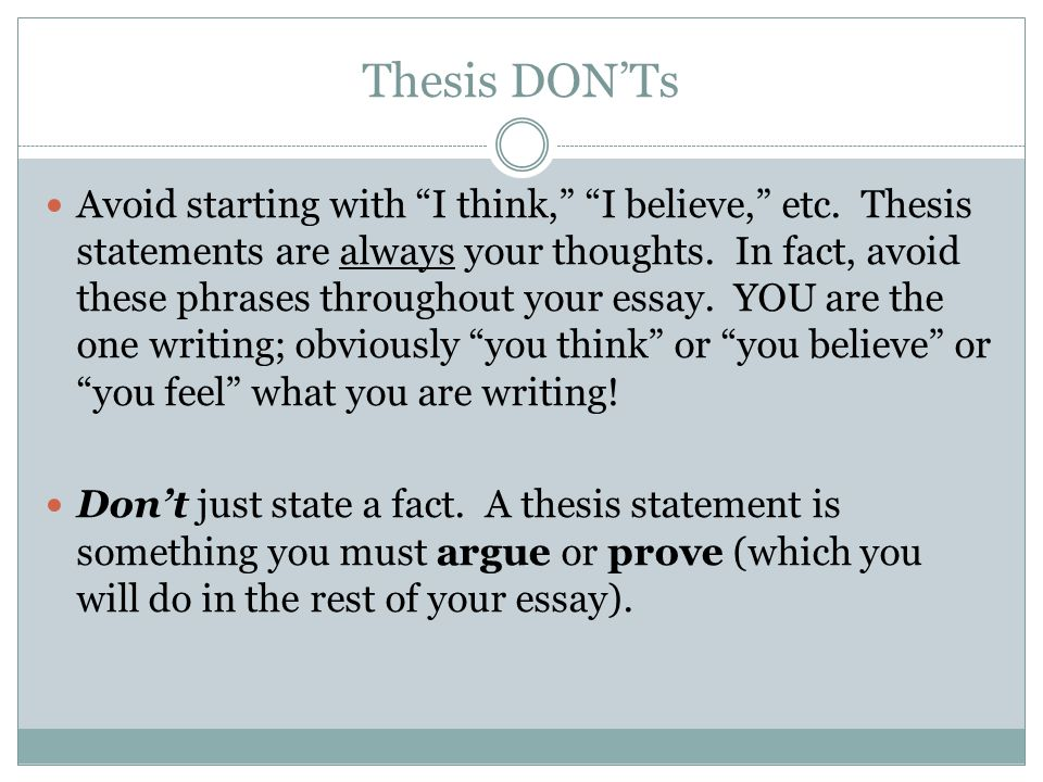 Starting A Thesis Statement