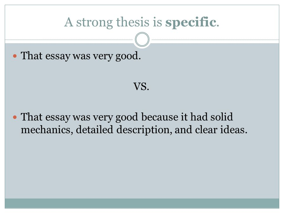 clear statement thesis