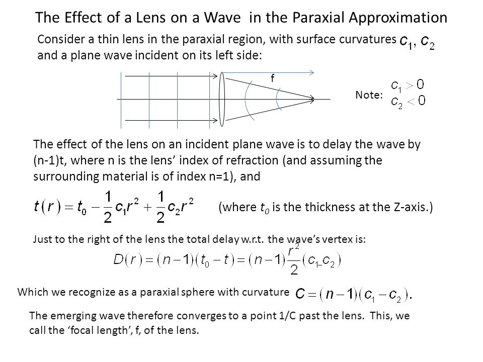 Graphical Ray Tracing Through Thin Lenses We will assume, without further proof, that the paraxial effect of a thin lens on the curvature of wavefronts is, to first order, unchanged by tilting the lens through a paraxial angle.