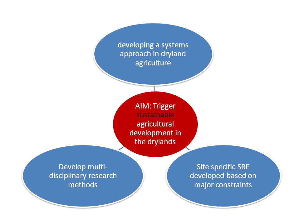 AIM: Trigger sustainable agricultural development in the drylands developing a systems approach in dryland agriculture Site specific SRF developed based on major constraints Develop multi- disciplinary research methods