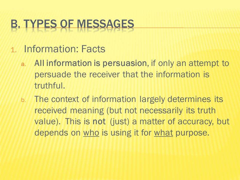1. Information: Facts a.