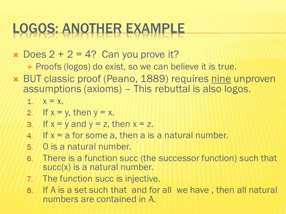  Does 2 + 2 = 4. Can you prove it.  Proofs (logos) do exist, so we can believe it is true.