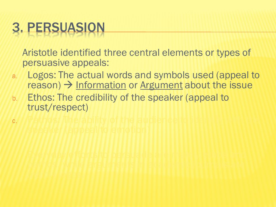 Aristotle identified three central elements or types of persuasive appeals: a.