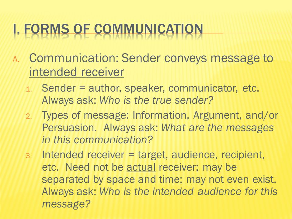 A. Communication: Sender conveys message to intended receiver 1.