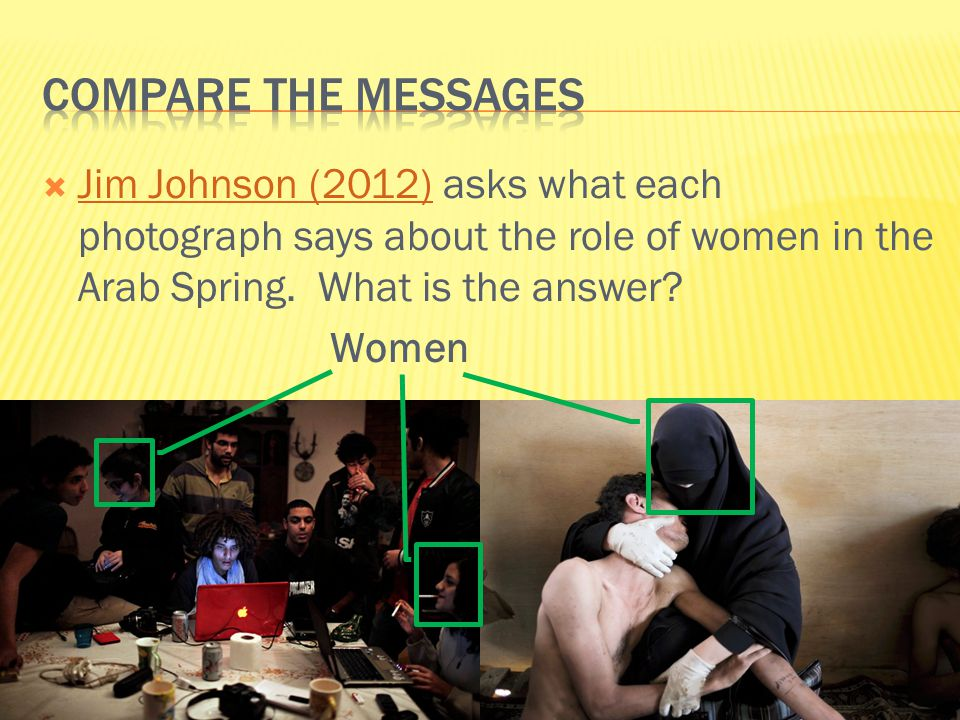  Jim Johnson (2012) asks what each photograph says about the role of women in the Arab Spring.