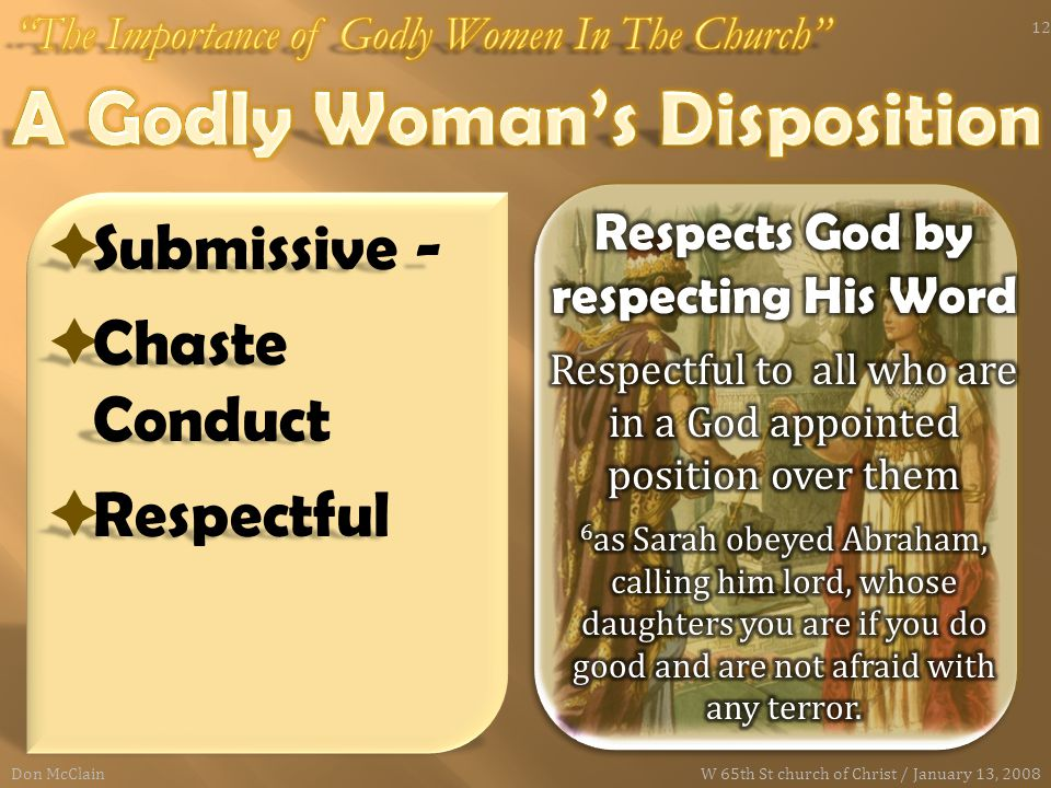  Submissive -  Chaste Conduct  Respectful Don McClain 12 W 65th St church of Christ / January 13, 2008