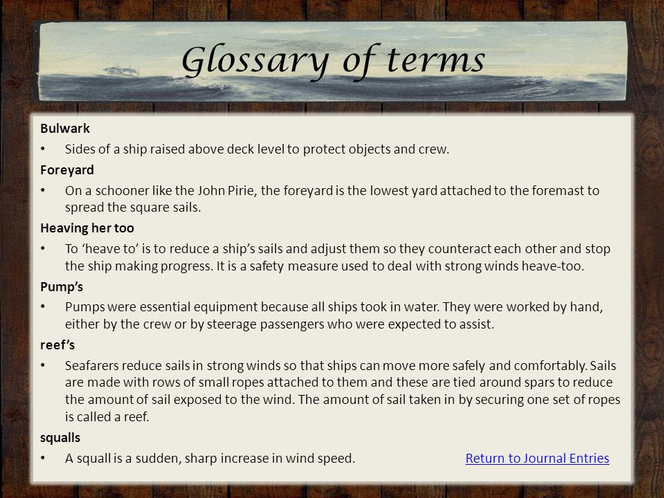 Glossary of terms Bulwark Sides of a ship raised above deck level to protect objects and crew. Foreyard On a schooner like the John Pirie, the foreyar
