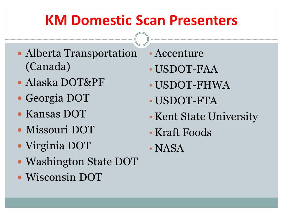 KM Domestic Scan Presenters Alberta Transportation (Canada) Alaska DOT&PF Georgia DOT Kansas DOT Missouri DOT Virginia DOT Washington State DOT Wisconsin DOT Accenture USDOT-FAA USDOT-FHWA USDOT-FTA Kent State University Kraft Foods NASA