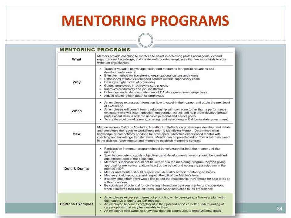 MENTORING PROGRAMS 34