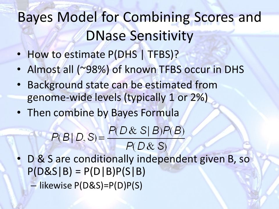 Bayes Model for Combining Scores and DNase Sensitivity How to estimate P(DHS | TFBS).