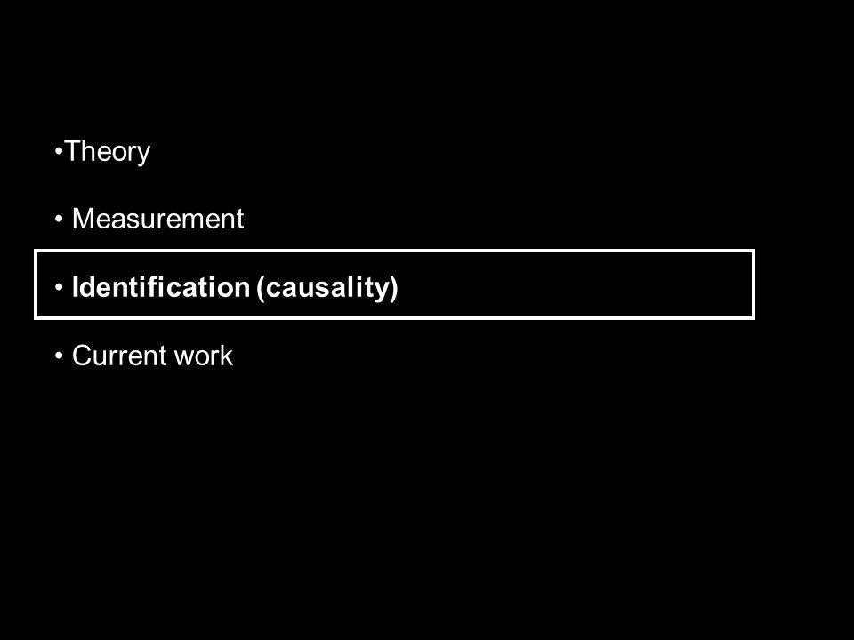 Theory Measurement Identification (causality) Current work
