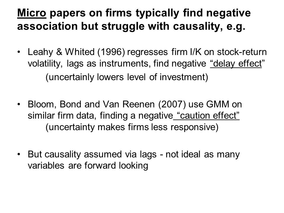 Micro papers on firms typically find negative association but struggle with causality, e.g.