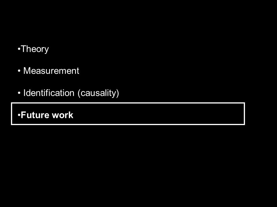Theory Measurement Identification (causality) Future work
