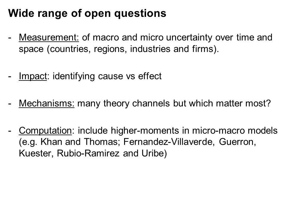 Wide range of open questions -Measurement: of macro and micro uncertainty over time and space (countries, regions, industries and firms).