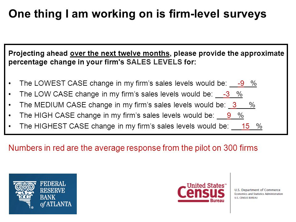 One thing I am working on is firm-level surveys Projecting ahead over the next twelve months, please provide the approximate percentage change in your firm s SALES LEVELS for: The LOWEST CASE change in my firm's sales levels would be: -9 % The LOW CASE change in my firm's sales levels would be: -3 % The MEDIUM CASE change in my firm's sales levels would be: 3 % The HIGH CASE change in my firm's sales levels would be: 9 % The HIGHEST CASE change in my firm's sales levels would be: 15 % Numbers in red are the average response from the pilot on 300 firms