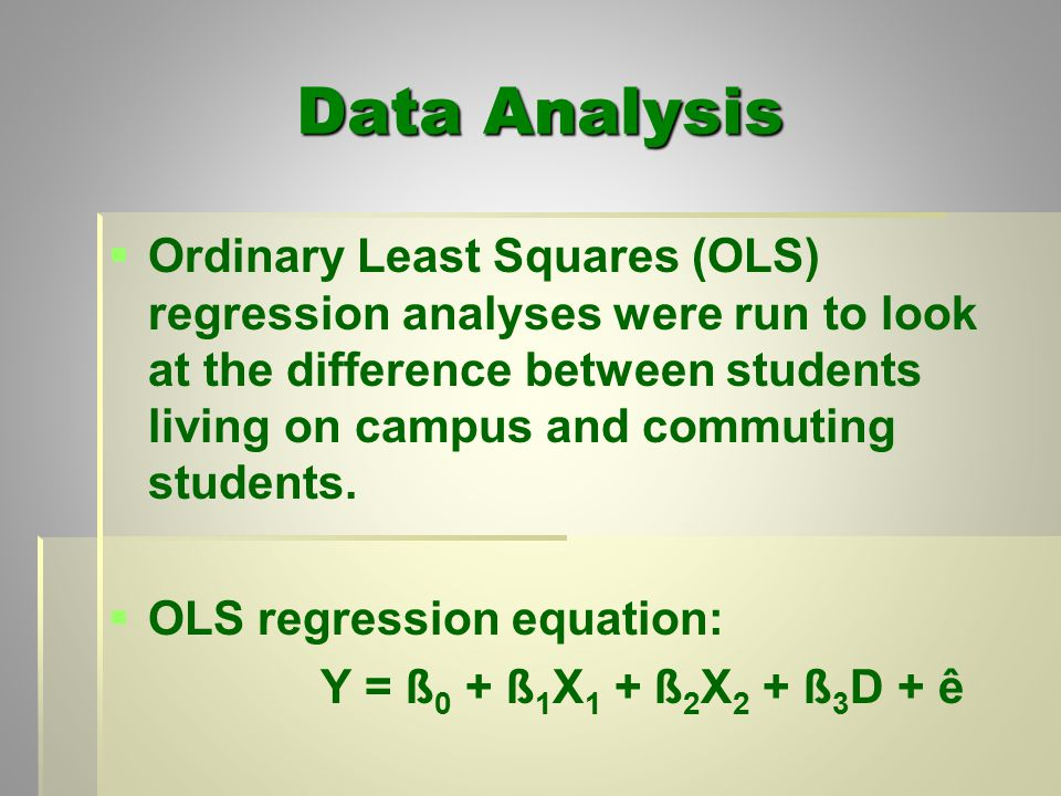 Data Analysis   Ordinary Least Squares (OLS) regression analyses were run to look at the difference between students living on campus and commuting students.