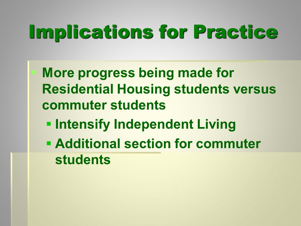 Implications for Practice   More progress being made for Residential Housing students versus commuter students   Intensify Independent Living   Additional section for commuter students