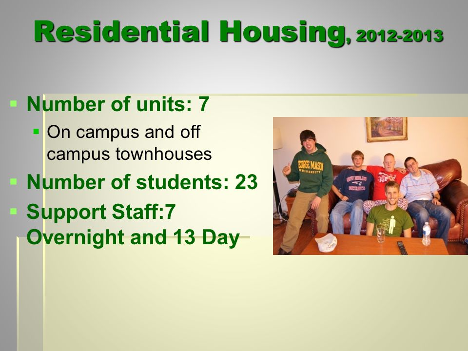 Residential Housing, 2012-2013   Number of units: 7   On campus and off campus townhouses   Number of students: 23   Support Staff:7 Overnight and 13 Day