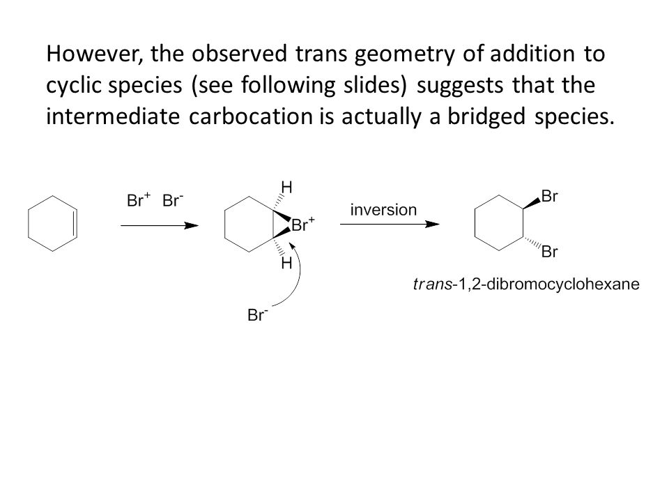However, the observed trans geometry of addition to cyclic species (see following slides) suggests that the intermediate carbocation is actually a bridged species.