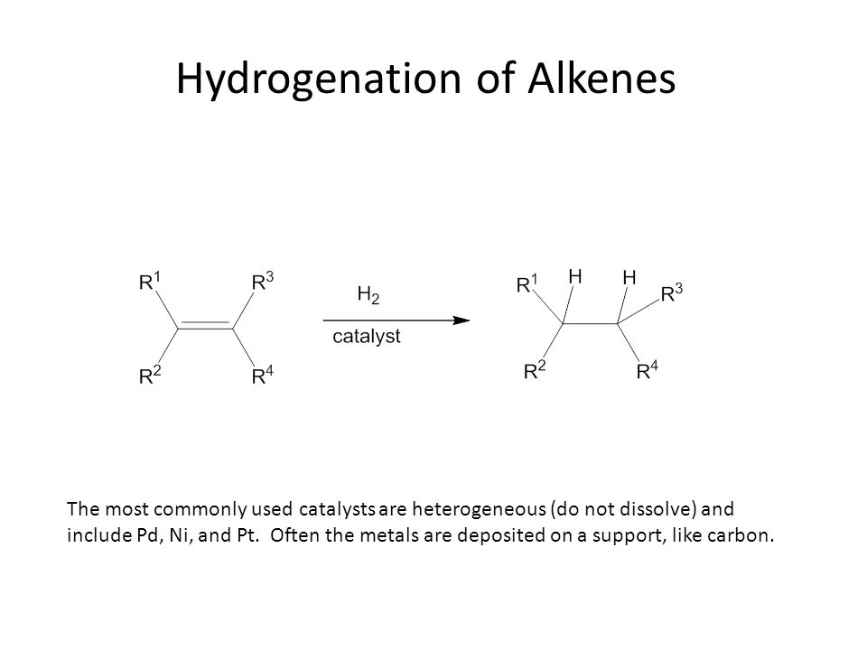 Hydrogenation of Alkenes The most commonly used catalysts are heterogeneous (do not dissolve) and include Pd, Ni, and Pt.