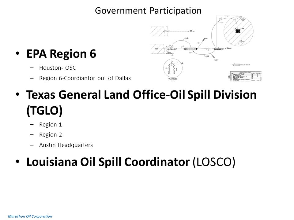 Government Participation EPA Region 6 – Houston- OSC – Region 6-Coordiantor out of Dallas Texas General Land Office-Oil Spill Division (TGLO) – Region 1 – Region 2 – Austin Headquarters Louisiana Oil Spill Coordinator (LOSCO) Marathon Oil Corporation